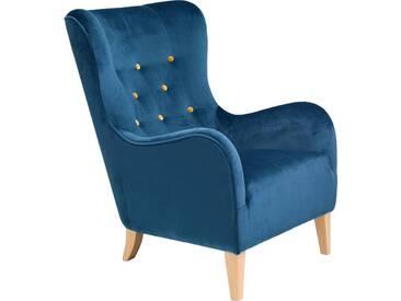 Max Winzer® Sessel mit farbigen Zierknöpfen »Melina«, mit Holzfüßen, grün, petrol