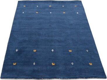carpetfine Wollteppich »Gabbeh Uni«, rechteckig, Höhe 15 mm, handgewebt, blau, blau