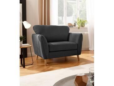 Home affaire Sessel »Marseille«, in skandinavischem Stil, in 3 Bezugsqualitäten, mit Holz-Beinen, grau, anthrazit