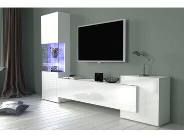 Tecnos Wohnwand »New Incontro«, (Set, 3-tlg), weiß, Weiß Hochglanz