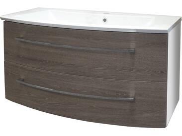 FACKELMANN Waschtischunterbau »Rondo«, Breite 99 cm, braun, eichefarben dunkel/weiß