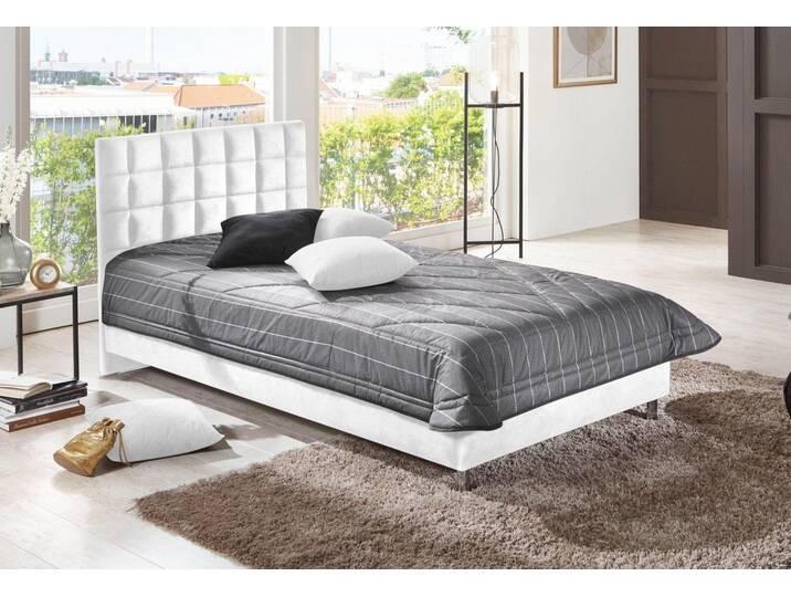 Westfalia Schlafkomfort Polsterbett in diversen Ausführungen, weiß, Bettgestell, Microvelours weiß Weiß