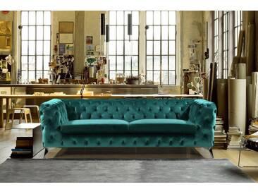 KAWOLA Sofa Chesterfield Stoff 3-Sitzer versch. Farben »NARLA«