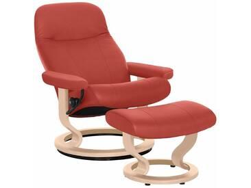 Stressless® Set: Relaxsessel mit Hocker »Garda« mit Classic Base, Größe M, mit Schlaffunktion, rot, Fuß naturfarben, henna