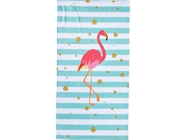 done.® the orange difference done.® Strandtuch mit Tasche, »Flamingo«, blau, türkis-rosa