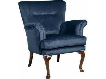 Max Winzer® Sessel »Barbie« im Barockstil, mit Ziernagelband, blau, petrol