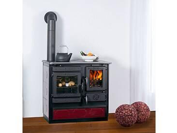 Globefire GLOBEFIRE Festbrennstoffherd »Alhena«, Stahl emailliert, 7 kW, Dauerbrand, rot, links, rot