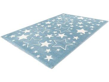 LALEE Kinderteppich »Amigo 329«, rechteckig, Höhe 15 mm, Sterne im Konturenschnitt, blau, blau