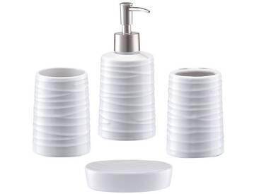 Zeller Present Zeller Bad-Accessoire-Set »Aqua«, 4-teilig, weiß, weiß
