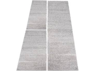 Carpet City Bettumrandung »Shaggi uni 500« , höhe 30 mm, (3-tlg), grau, 30 mm, grau