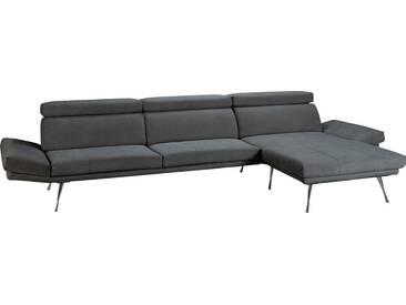 Places of Style Ecksofa »Campos«, mit eleganten Füßen aus Metall, grau, 346 cm, Recamiere rechts, anthrazit