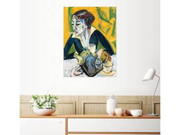 Posterlounge Wandbild - Ernst Ludwig Kirchner »Erna mit Zigarette«, bunt, Leinwandbild, 90 x 120 cm, bunt