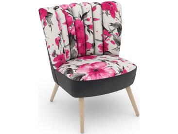 Max Winzer® build-a-chair Stuhlsessel »Aspen« im Retrolook, zum Selbstgestalten, rosa, Korpus: Samtvelours anthrazit, Microvelours Blüte pink