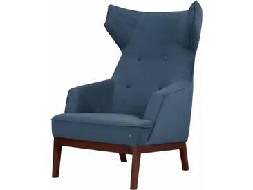 TOM TAILOR Ohrensessel »COZY«, im Retrolook, mit Kedernaht und Knöpfung, Füße nussbaumfarben, blau, ink blue STC 6