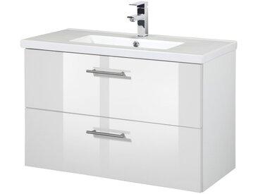 welltime WELLTIME Waschtisch »Trento«, Waschtisch SlimLine, Breite 80 cm, Tiefe 36 cm, (2-tlg.), weiß, weiß