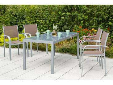 MERXX Gartenmöbelset »Ostia«, 5-tlg., 4 Stapelsessel, Tisch 150x90 cm, Aluminium, natur, taupe/grau