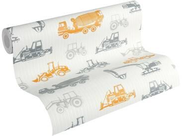 Esprit Vliestapete, »strukturierte Kids Tapete Tractors«, bunt, grau;orange;weiß