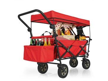 PRIMA GARDEN faltbar Bollerwagen,Schutzdach,Kühltasche,Rot, rot, rot