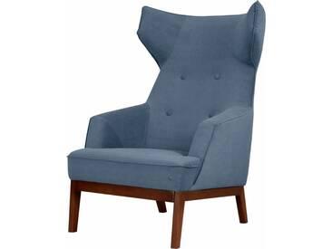 TOM TAILOR Ohrensessel »COZY«, im Retrolook, mit Kedernaht und Knöpfung, Füße nussbaumfarben, blau, sky blue TUS 6