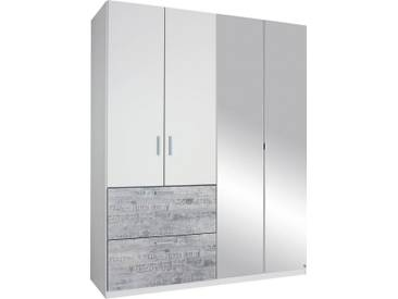 rauch SELECT Kleiderschrank mit Spiegel, weiß, Breite 181 cm, 4-türig, mit Aufbauservice, mit Aufbauservice, weiß mit grauem Vintage-Dekor