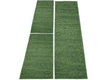 Carpet City Bettumrandung »Shaggi uni 500« , höhe 30 mm, (3-tlg), grün, 30 mm, grün