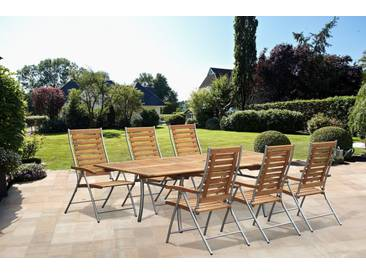 bella sole BELLASOLE Gartenmöbelset »Kopenhagen«, 7-tlg., 6 Sessel, Tisch 100x180-250 cm, Akazie, klappbar, braun, braun