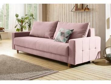 Home affaire Schlafsofa »Padua« mit Zierkissen, incl. Bettkasten und Federkern, rosa, Mit Bettfunktion und Bettkasten, rose