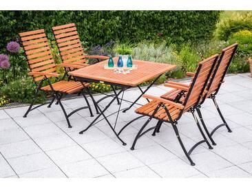 MERXX Gartenmöbelset »Schlossgarten«, 5-tlg., 4 Klappsessel, Tisch, Eukalyptus, ausziehbar, braun, braun