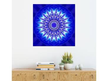 Posterlounge Wandbild - Christine Bässler »Mandala Spiritualität mit Blume des Lebens«, blau, Acrylglas, 120 x 120 cm, blau