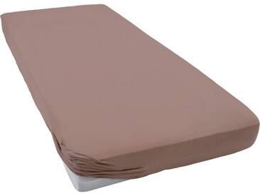 Schlafgut Spannbettlaken »Flausch-Jersey«, sehr wärmend, braun, Jersey, nussbraun