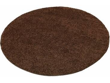 my home Hochflor-Teppich »Bodrum«, rund, Höhe 30 mm, braun, 30 mm, dunkelbraun