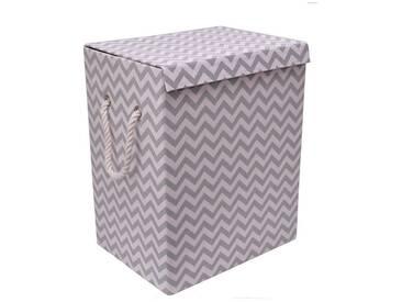Franz Müller Flechtwaren Wäschebox (1 Stück), faltbar, grau, 40x30x50 cm, grau-weiß