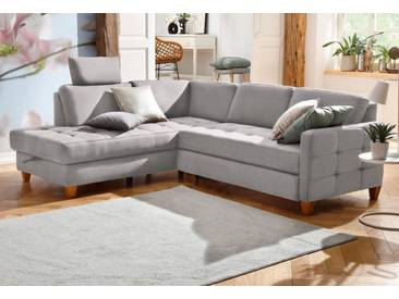 Home affaire Ecksofa »Earl«, grau, 233 cm, Ottomane links, grau