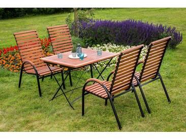 MERXX Gartenmöbelset »Schloßgarten«, 5tlg., 4 Sessel, Tisch, stapelbar, ausziehbar, klappbar, natur, natur