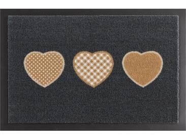 HANSE Home Fußmatte »Three Hearts«, rechteckig, Höhe 7 mm, rutschhemmend beschichtet, grau, 7 mm, grau-braun