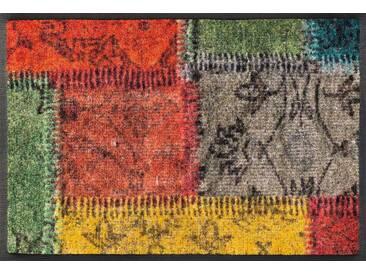 wash+dry by Kleen-Tex Fußmatte »Vintage Patches«, rechteckig, Höhe 7 mm, bunt, 7 mm, bunt