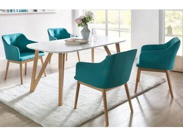 SalesFever 5-tlg. Essgruppe mit großen weißem Tisch und 4 Stühlen »Aino«, 140x90 cm + 4 Stühle, Petrol