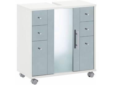 Schildmeyer Waschbeckenunterschrank »Cantara« mit Glastür, blau, weiß/taubenblau matt