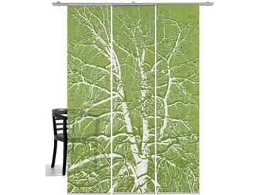 emotion textiles Schiebegardine »Birke«, Klettband (3 Stück), inkl. Beschwerungsstange, grün, Klettband, halbtransparent, moosgrün