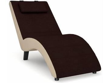 Max Winzer® build-a-chair Relaxliege »Nova«, inklusive Nackenkissen, zum Selbstgestalten, braun, Korpus: Kunstleder beige, Flachgewebe dunkelbraun