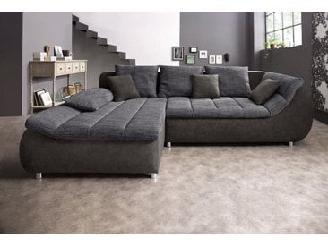 BENFORMATO CITY COLLECTION Ecksofa, grau, 278 cm, Recamiere links, anthrazit/dunkelgrau
