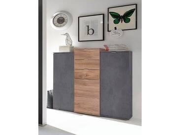 Mäusbacher Highboard, Breite 119 cm, grau, graphitfarben/eichefarben Stirling