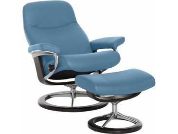 Stressless® Set: Relaxsessel mit Hocker »Garda« mit Signature Base, Größe L, mit Schlaffunktion, blau, Fuß wengefarben, sparrow blue