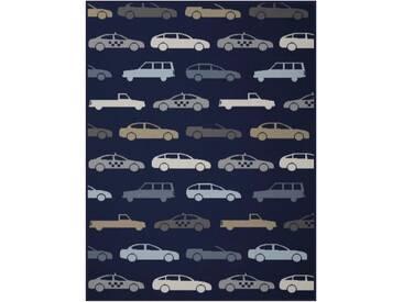 BIEDERLACK Babydecke »Lovely Freeway«, mit Auto Motiv, blau, Baumwolle-Kunstfaser, blau-beige