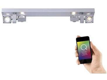 Paul Neuhaus LED-Deckenleuchte, Smart Home 8-flammiger Balkenspot »Q-NEMO«, silberfarben, aluminium