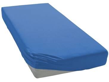 Auro Hometextile Spannbettlaken »Mako-Satin Basic Uni«, mit zartem Schimmer, blau, Mako-Satin, blau