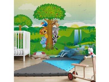Bilderwelten Kinderzimmer Vliestapete Premium Breit »Dschungeltiere«, grün, 225x336 cm, Grün