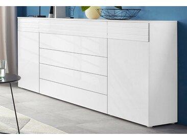 Highboard »Florenz«, Breite 200 cm, weiß, weiß HG-Riffeloptik MDF