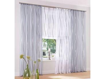 my home Gardine »Dimona«, Ösen (2 Stück), weiß, Ösen, transparent, weiß-silberfarben-grau