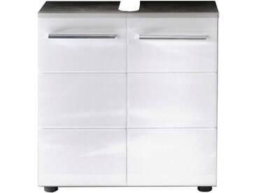 trendteam Waschbeckenunterschrank »Nano«, weiß, Beton-Optik/weiß Hochglanz